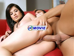 Latina pornstar Gabriella Romano exposes her booty while taking on our stunt cock