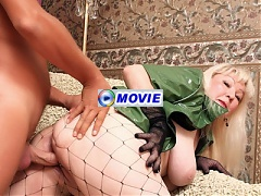 Sexy mature Erica kneading her big boobs while she gets screwed with her stockings on