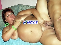 Chunky older woman Mindy fondles her huge knockers while taking on our stunt cock