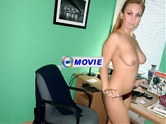 Blonde Mature ex girlfriend Sonya locks herself up in her office and goes for a hot solo