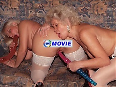 Blonde grannies Francesca and Erlene play with sex toys in this girl on girl scene live