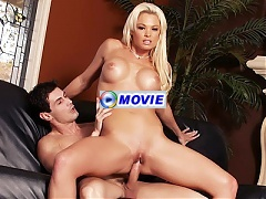Big titty blonde MILF Rhylee gets her pussy eaten out and plugged with a raging dick
