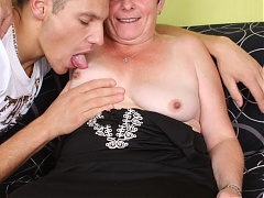 Experienced mature woman named Simone bares her clothes to show her flabby ass and ride a cock