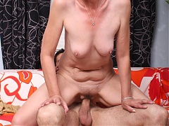Horny grandma Stephanie invites a younger man over and lures him into fucking her on webcam