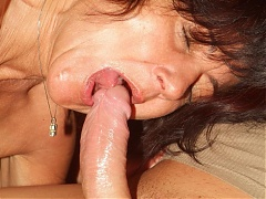 Stocking clad mature Agnes spreading her nylon covered thighs while a cock pounds her hairy pussy