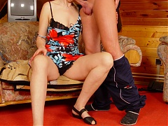 Explicit live cam show with elderly hottie Rosamund riding a younger guys cock in the attic