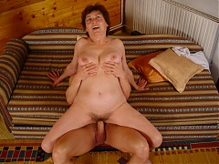 Sexy GILF Valda invites a younger dude in the attic for a rauncy hardcore fucking