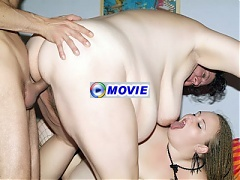 Older BBW Agnes Eva joins a cute plumper named Anna Marie and lure her into a threesome